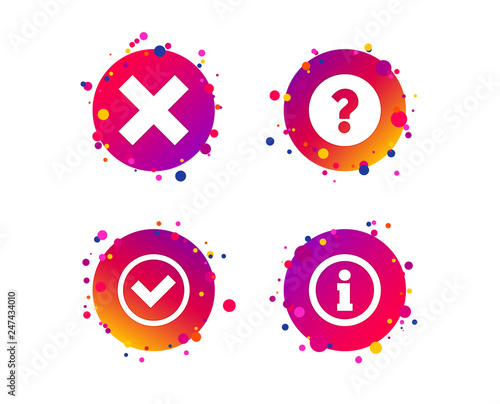 Information icons  Delete and question FAQ mark signs  Approved