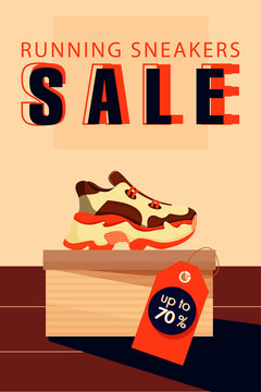 Sale vector poster. Sneakers shoes on the box. Sport shop footwear collection. Illustration for a shoe store. Vector flat illustration.