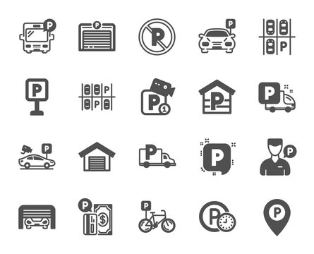 Parking icons. Car garage, Valet servant and Paid transport parking icons. Video monitoring, Bike or Car park and Truck or Bus transport garage. Money payment, Map pointer and Free park. Vector