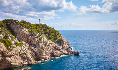 Wall Mural - Scenic landscape with Capdepera Lighthouse in distance, Mallorca, Spain.