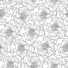 Seamless vector pattern. Many peonies are arranged tightly to each other.
