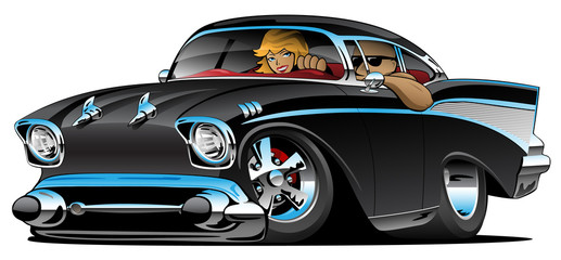 Classic hot rod fifties muscle car with a cool man and cute blonde woman cruising, low profile, big tires and rims, jet black paint, cartoon vector illustration