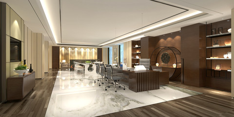 3d render modern working office