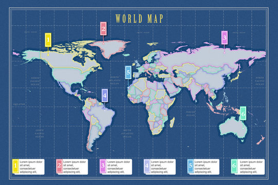 Small scale political world map with infographic in Mercator projection on blue background