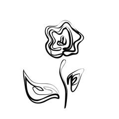 Black silhouette of rose vector illustration eps 10.