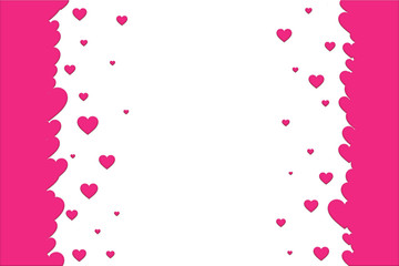 Pink hearts on a white background. Valentines day template.