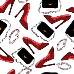 Seamless pattern. The figure shows red shoes, beads and  a black handbag.The picture is made in multicolored.  Illustration can be used as wallpaper, postcard, cover, background.  Vector illustration.