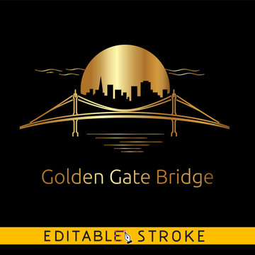 Golden gate bridge. Symbol of San Francisco logo or icon on black background. Easy changing vector with editable strokes.