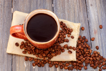coffee mug on a wooden background of