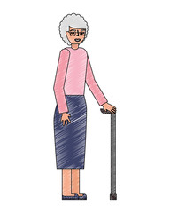 grandma old woman character with stick cane