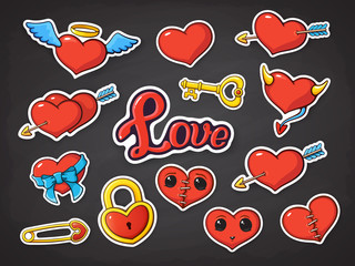 Vector illustration set of hearts for Valentines Day. Hearts with wings, horns, ribbon, scar, eyes, hearts pierced by an arrow and love lettering, heart-shaped lock, key and pin. Stickers with contour