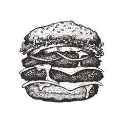 Vector illustration. Double cheeseburger with cheese, tomato, onion and lettuce. Big beef burger with vegetables. Hand drawn ink sketch. Graphic vintage element. Isolated on white background
