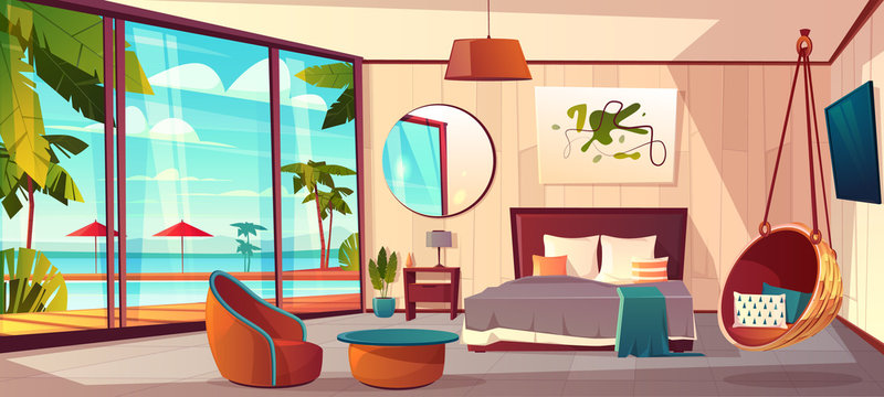 Vector cartoon interior of cozy hotel bedroom with furniture - double bed, carpet and terrace. Living apartment of tropical resort with big window, green plants. Summer rest. Colorful background.