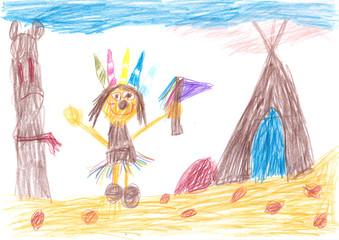 Indianer spielen wild und frei - Kinderbild