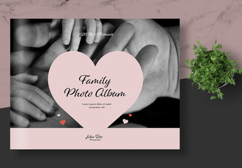 Wedding Photo Album Layout with Pink Accents