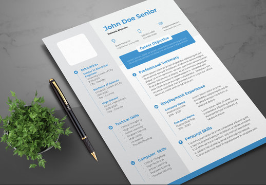 Resume Layout with Blue Accents and Gray Sidebar