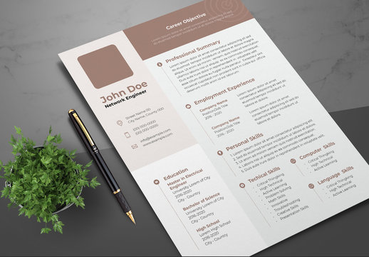 Resume Layout with Brown and Tan Accents