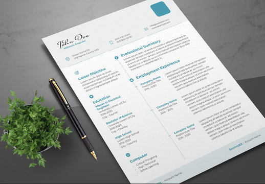 Resume Layout with Teal Accents and Header/Footer