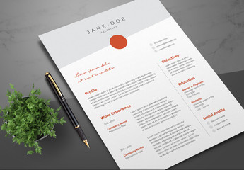 Resume Layout with Dark Orange Accents