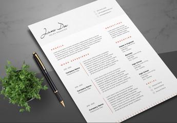 Resume Layout with Dark Orange Accents