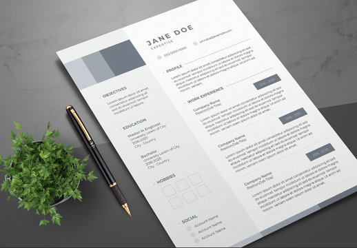 Resume Layout with Blue-Gray Sidebar and Accents