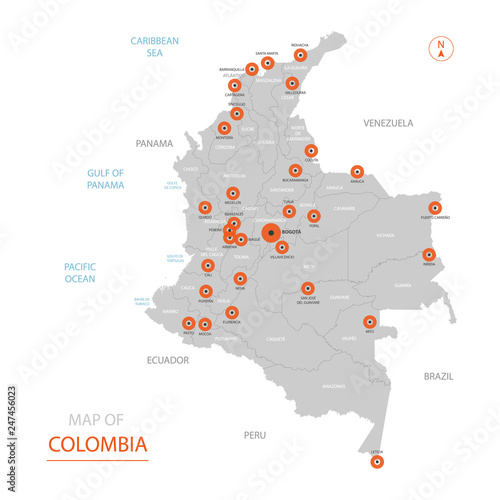Stylized vector Colombia map showing big cities, capital ...