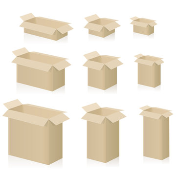 Cardboard boxes, different sizes, packing cases with open lid. Isolated vector illustration on white background.