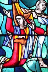Rachel, stained glass window in Basilica of St. Vitus in Ellwangen, Germany