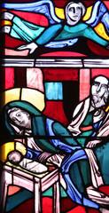 Nativity Scene, stained glass window in Basilica of St. Vitus in Ellwangen, Germany