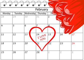 Valentin`s Tag Kalender Ich Liebe Dich mit Blumen