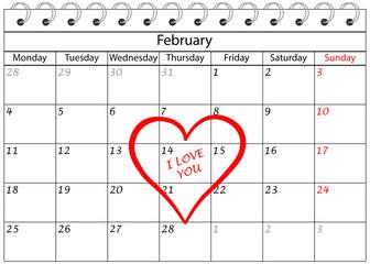 Valentin`s Tag Kalender Ich Liebe Dich mit Herz Umrandung