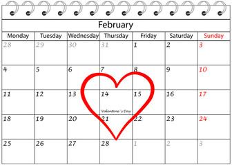 Valentin`s Tag Kalender mit Herz Rahmen