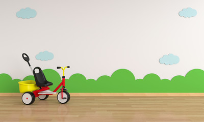 Child bicycle in white room for mockup, 3D rendering