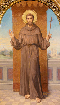 PRAGUE, CZECH REPUBLIC - OCTOBER 12, 2018: The painting St. Francis in church Bazilika svatého Petra a Pavla na Vyšehrade by S. G. Rudl (1895).