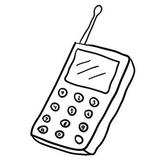 Cartoon doodle linear  retro mobile phone isolated on white background. Vector illustration.