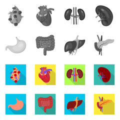 Vector design of biology and scientific symbol. Collection of biology and laboratory stock vector illustration.