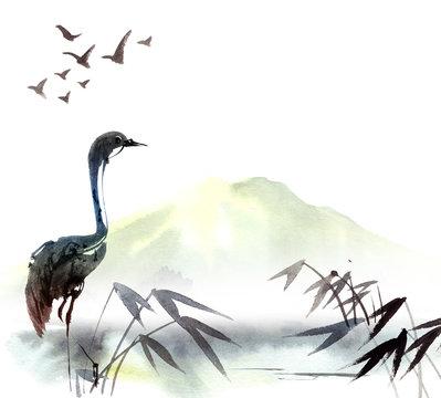 Illustration of heron
