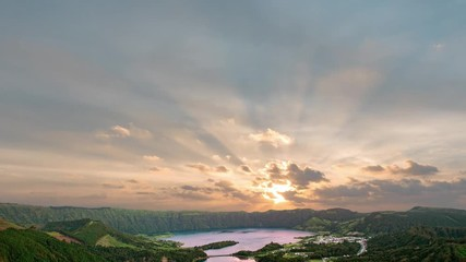 Wall Mural - Beautiful Sunrise above Ciete Cidades mountain lake at Azores San Miguel island
