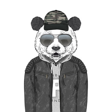 panda bear hipster dressed up in modern urban outfits like leather jacket hoodie and cap with camouflage pattern, furry art illustration, fashion animals