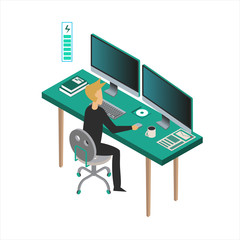 Man, designer, programmer, analyst at Work. Isometric style. vector illustration. Сomputer, PC, CD, coffe, table, book, energy.
