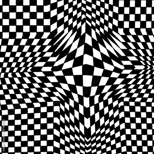 Abstract Black And White Checkered Background Geometric