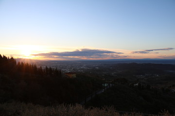 Fotorolgordijn Chocoladebruin Tuscany sunrise moments