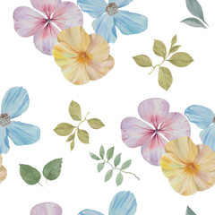 Seamless watercolour pattern. Hand painted watercolor illustration. Seamless botanical watercolor exotic floral pattern.