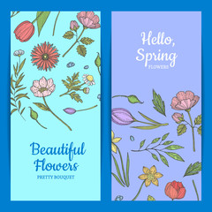Vector hand drawn flowers web banner templates illustration. Floral flower banner and card