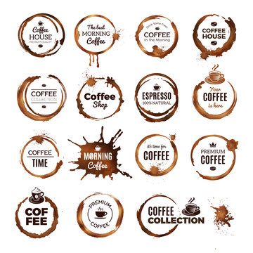 Coffee rings badges. Labels with dirty circles from tea or coffee cup restaurant logo template. Coffee espresso premium, badge splash stain from mug illustration