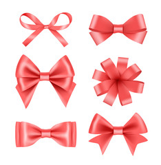 Bow with ribbons. Satin silk decoration for celebration or party vector realistic pictures. Illustration of ribbon tape 3d, strip thin and thick satin