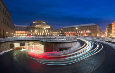 Light trails in front of Munich National theatre and Maximilian street at night