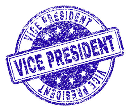 VICE PRESIDENT stamp seal watermark with grunge texture. Designed with rounded rectangles and circles. Blue vector rubber print of VICE PRESIDENT text with grunge texture.