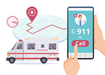 Ambulance service. Urgent 911 hospital emergency call vector concept. Illustration of emergency 911 telephone assistance