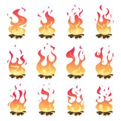 Camp fire animation. Outdoor fireplace hiking bonfire burn vector key frames. Bonfire motion, animation burn campfire illustration